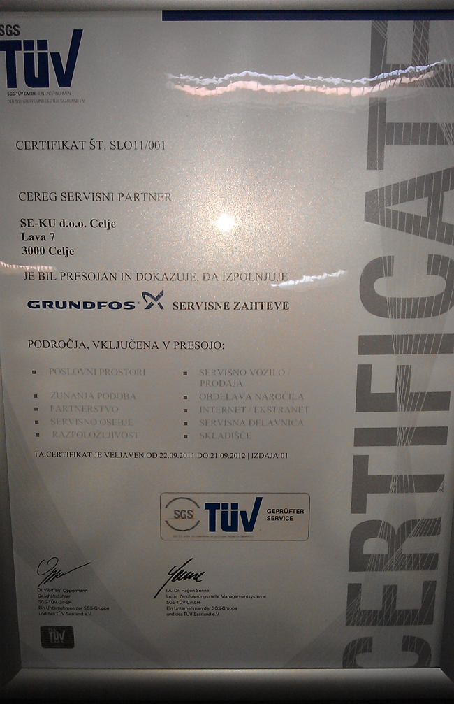 Grundfosov certifikat sevrisnega  partnerja