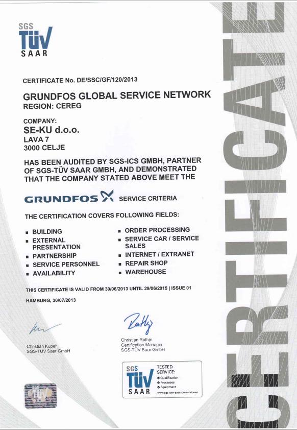 Certifikat Grundfos